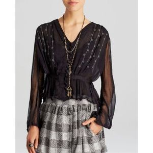 Free people midnight shimmer sheer blouse